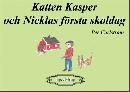 Katten Kasper och Nicklas första skoldag